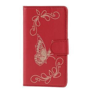 Peněženkové pouzdro s motýlkem na Sony Xperia E4 - červené - 2