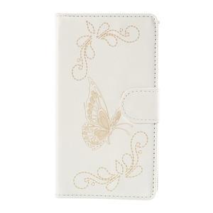 Peněženkové pouzdro s motýlkem na Sony Xperia E4 - bílé - 2