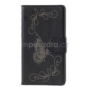 Peněženkové pouzdro s motýlkem na Sony Xperia E4 - černé - 2