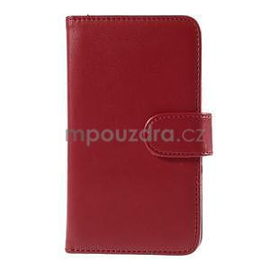 Peněženkové PU kožené pouzdro na Sony Experia E4 - červené - 2