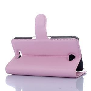 PU kožené peněženkové pouzdro na mobil Sony Xperia E4 - růžové - 2