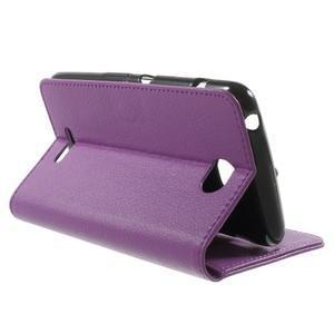 PU kožené peněženkové pouzdro na Sony Xperia E4 - fialové - 2