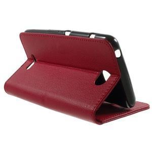 PU kožené peněženkové pouzdro na Sony Xperia E4 - červené - 2
