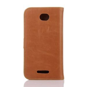 PU kožené PU peněženkové pouzdro na Sony Xperia E4 - hnědé - 2