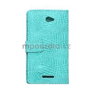 Pouzdro s krokodýlím vzorem na Sony Xperia E4 - tyrkysové - 2