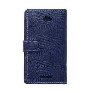 Pouzdro s krokodýlím vzorem na Sony Xperia E4 - tmavě modré - 2