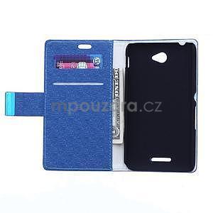 Vzorované pěněženkové pouzdro na Sony Xperia E4 - modré - 2