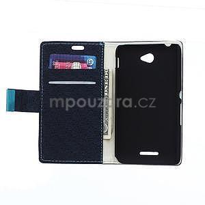 Vzorované pěněženkové pouzdro na Sony Xperia E4 - tmavě modré - 2