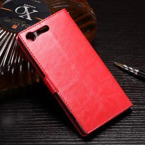 Wallet PU kožené zapínací pouzdro na Sony Xperia XZ Premium - červené - 2