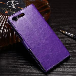 Wallet PU kožené zapínací pouzdro na Sony Xperia XZ Premium - fialové - 2