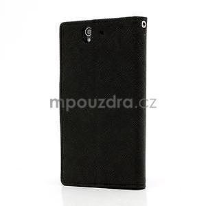Peněženkové PU kožené pouzdro na Sony Xperia Z - černé - 2