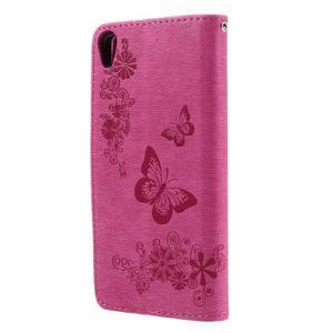 Butterfly PU kožené pouzdro na Sony Xperia E5 - rose - 2