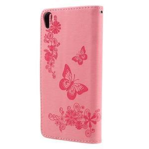 Butterfly PU kožené pouzdro na Sony Xperia E5 - růžové - 2