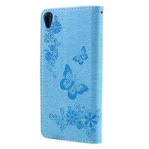 Butterfly PU kožené pouzdro na Sony Xperia E5 - světledmodré - 2