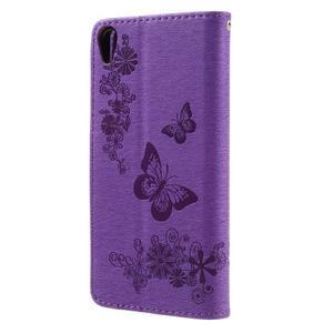 Butterfly PU kožené pouzdro na Sony Xperia E5 - fialové - 2