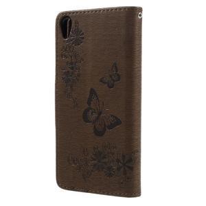 Butterfly PU kožené pouzdro na Sony Xperia E5 - hnědé - 2