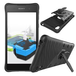 Armory odolný obal se stojánkem na Sony Xperia E5 - černý - 2