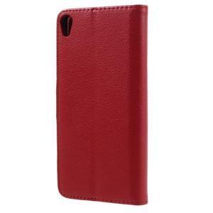 Leathy PU kožené pouzdro na Sony Xperia E5 - červené - 2