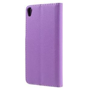 Leathy PU kožené pouzdro na Sony Xperia E5 - fialové - 2