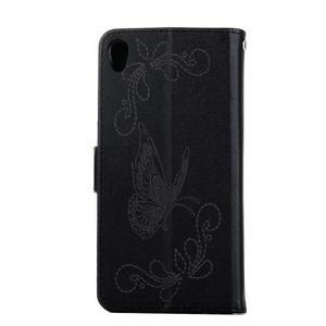 Motýlkové PU kožené pouzdro na mobil Sony Xperia E5 - černé - 2