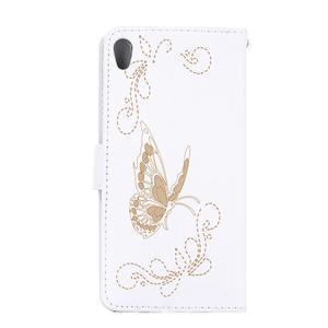 Motýlkové PU kožené pouzdro na mobil Sony Xperia E5 - bílé - 2