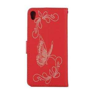 Motýlkové PU kožené pouzdro na mobil Sony Xperia E5 - červené - 2