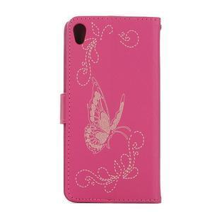Motýlkové PU kožené pouzdro na mobil Sony Xperia E5 - rose - 2