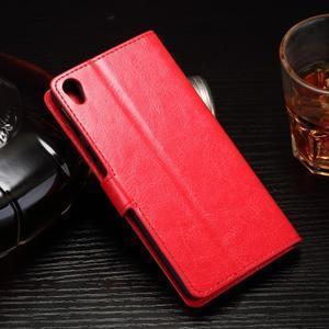 Horss PU kožené pouzdro na Sony Xperia E5 - červené - 2
