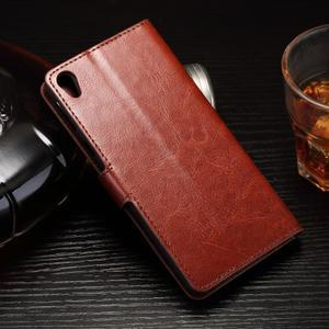 Horss PU kožené pouzdro na Sony Xperia E5 - hnědé - 2
