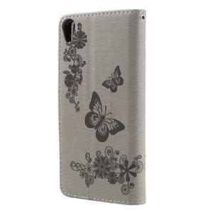 Butterfly PU kožené pouzdro na Sony Xperia E5 - šedé - 2