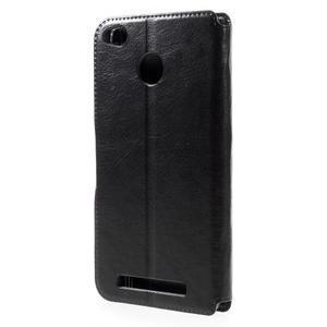 Horn PU kožené pouzdro na Xiaomi Redmi 3 Pro - černé - 2