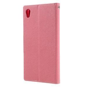 Diary PU kožené pouzdro na mobil Sony Xperia XA Ultra - růžové - 2