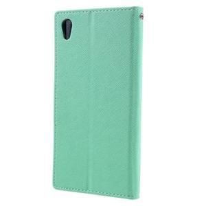 Diary PU kožené pouzdro na mobil Sony Xperia XA Ultra - azurové - 2