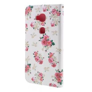 PU kožené pouzdro na mobil Honor 5X - květiny - 2
