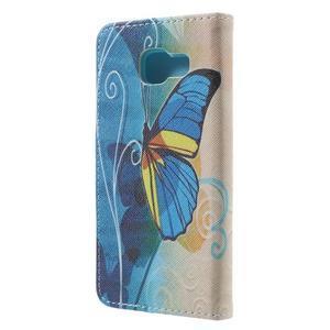 Peněženkové pouzdro na mobil Samsung Galaxy A3 (2016) - modrý motýl - 2
