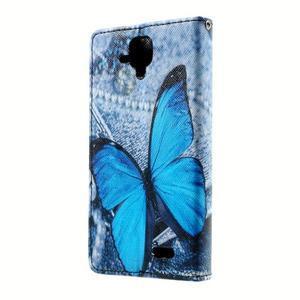 Peněženkové pouzdro na mobil Lenovo A536 - modrý motýl - 2