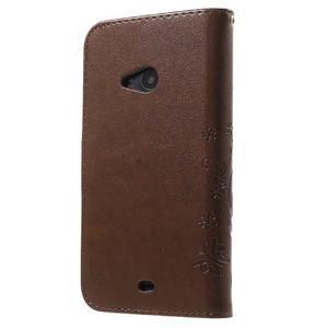 Butterfly peněženkové pouzdro na Microsoft Lumia 535 - hnědé - 2