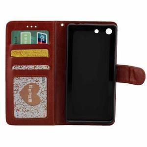 Horse PU kožené pouzdro na Sony Xperia M5 - hnědé - 2