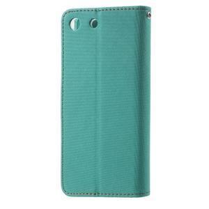 Wall PU kožené pouzdro na mobil Sony Xperia M5 - zelenomodré - 2