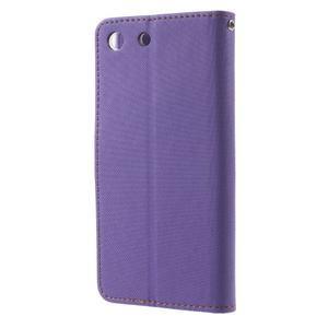 Wall PU kožené pouzdro na mobil Sony Xperia M5 - fialové - 2