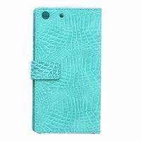 Peněženkové pouzdro s texturou krokodýlí kůže na Sony Xperia M5 - cyan - 2/7