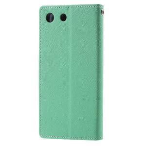 Goos PU kožené penženkové pouzdro na Sony Xperia M5 - cyan - 2