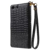 Croco peněženkové pouzdro na mobil Sony Xperia M5 - černé - 2/7