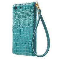 Croco peněženkové pouzdro na mobil Sony Xperia M5 - modré - 2/7
