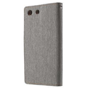 Canvas PU kožené / textilní pouzdro na Sony Xperia M5 - šedé - 2