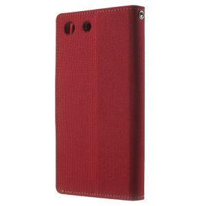 Canvas PU kožené / textilní pouzdro na Sony Xperia M5 - červené - 2