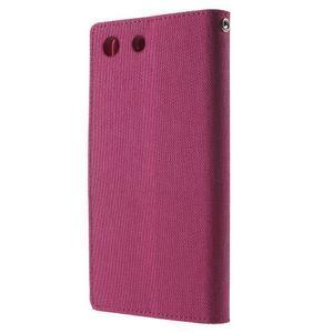 Canvas PU kožené / textilní pouzdro na Sony Xperia M5 - rose - 2