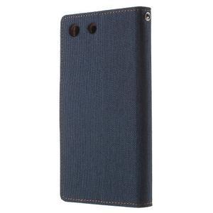 Canvas PU kožené / textilní pouzdro na Sony Xperia M5 - tmavěmodré - 2