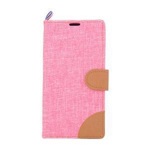 Jeans peněžnkové pouzdro na mobil Sony Xperia M5 - růžové - 2