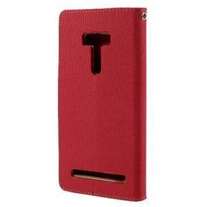Canvas PU kožené/textilní pouzdro na Asus Zenfone Selfie ZD551KL - červené - 2